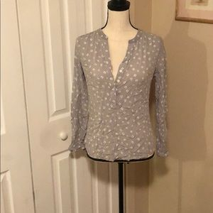 Loft Half-button Floral Blouse